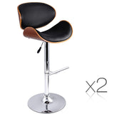 Set of 2 Wooden Swivel Bar Stool - Black