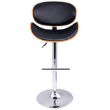 2 X Wooden Bar Stools Black Cushion Gas Lift For Kitchen Dining Room