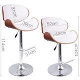 Set of 2 Wooden Swivel Bar Stool - White