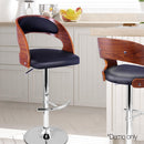 Wooden Bar Stools Black Cushion Gas Lift for Kitchen Dining Room