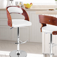 Wooden Bar Stools White Cushion Gas Lift for Kitchen Dining Room