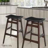2x Rubber Wood Bar Stools W/ Foam Padded Seat Wooden Dining Chairs Kitchen Black