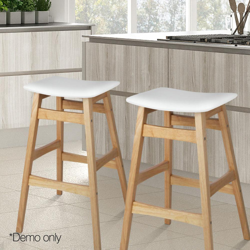 2x Rubber Wood Bar Stools W/ Foam Padded Seat Wooden Dining Chairs Kitchen White