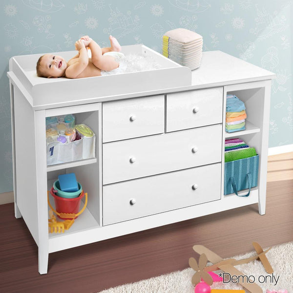 Baby Change Table W/ 4 Drawers Storage Dresser Removable Baby Chest White