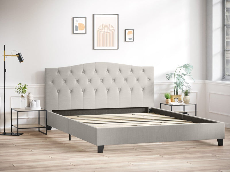 Double Size Fabric Curved Bed Frame (Natural Beige)
