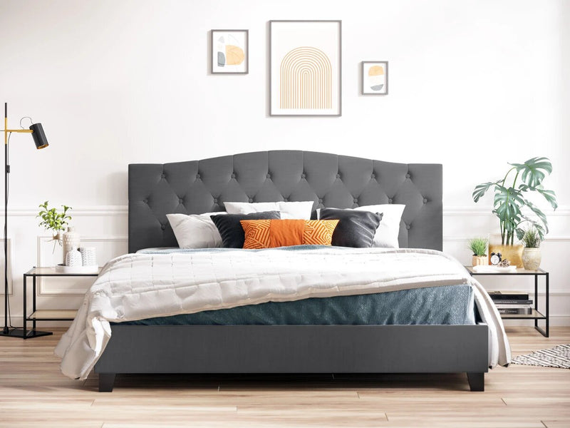 Queen Size Fabric Curved Bed Frame (Charcoal Black)