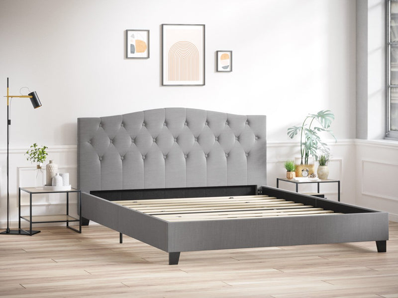 Double Size Sonata Fabric Curved Bed Frame (Ash Grey)