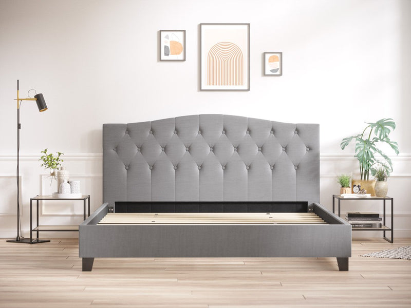Queen Size Sonata Fabric Curved Bed Frame (Ash Grey)