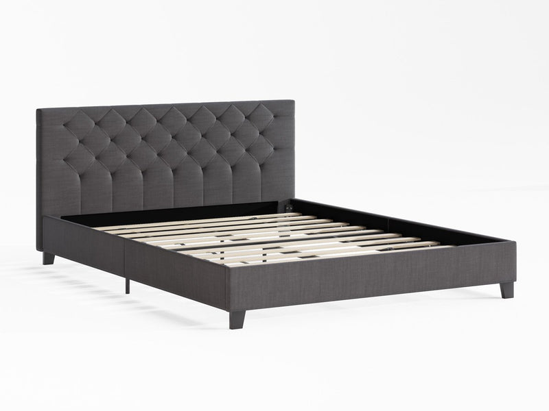 King Size Casper Fabric Bed Frame (Charcoal Black)