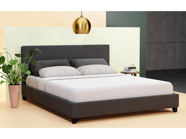 Double Size Fabric Bed Frame Grace Collection Charcoal
