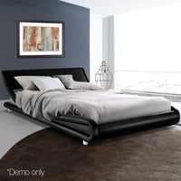 Grace Collection Queen Size Bed Frame Design Wood Base PU Leather Steel Beam In Black