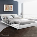 Grace Collection Queen Size PU Leather Bed Frame Sturdy Steel Frame- White