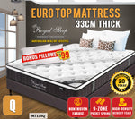 Queen Size Euro Top Mattress 33cm Thick Foam 9 Zones Pocket Springs