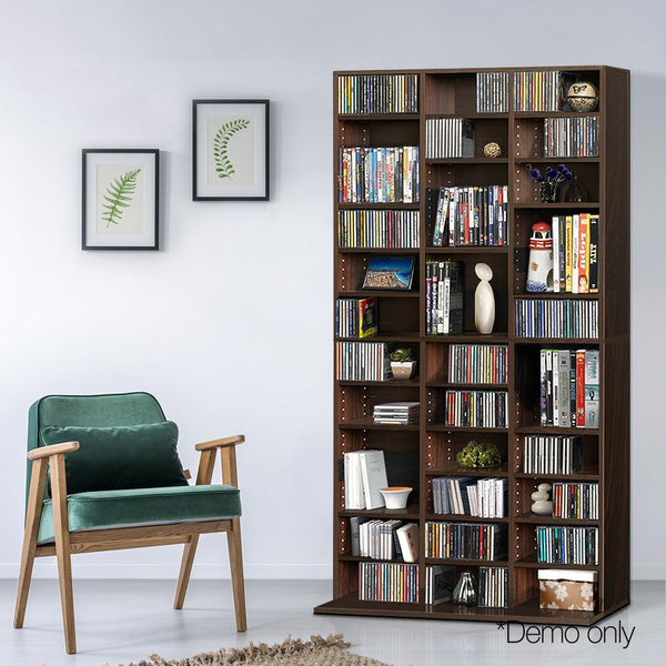 CD DVD Storage Bookcase Adjustable Shelf 190cm- Brown