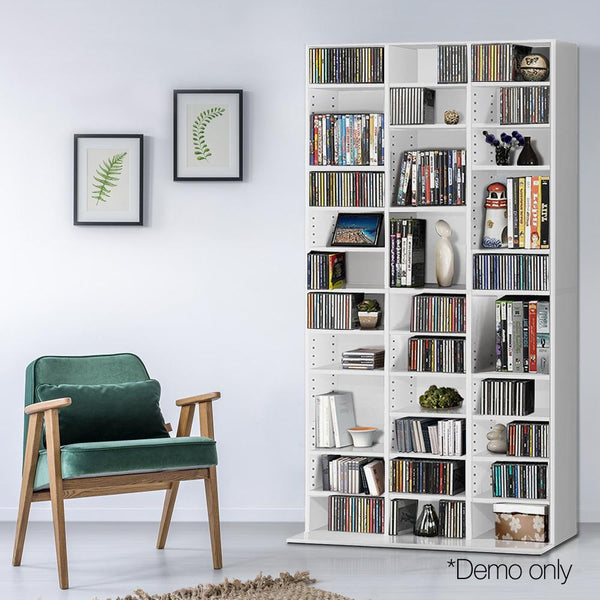 CD DVD Storage Bookcase Adjustable Shelf 190cm- White