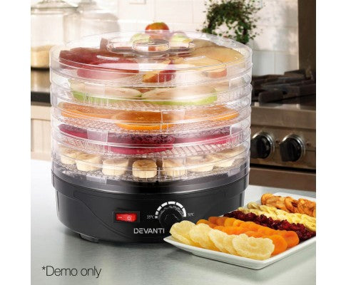 5 Trays Food Dehydrator Preserver For Fruit Meats Jerky Dryer Round Black