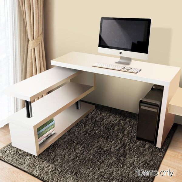 Computer Desk Corner Table W/ Rotating Bookshelf Study Student Office White