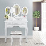 Elegant Dressing Table Stool W/ Mirror Jewellery Cabinet W/ 7 Drawers White