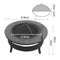 2 In 1 Outdoor Fire Pit BBQ Table Grill Fireplace Round
