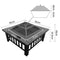 2 In 1 Outdoor Fire Pit BBQ Table Grill 81cm Fireplace Stone Pattern