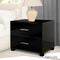 Bedside Table Bedroom Cabinet High Gloss Chest W/ 2 Drawers Black