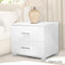 Bedside Table Bedroom Cabinet High Gloss Chest White W/ 2 Drawers