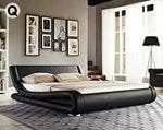 Grace Collection Queen Size Faux Leather Curved Bed Frame - Black