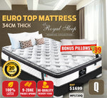 Chiropractic Queen Euro Top Mattress 34cm Thick Latex Cool Gel Memory Foam