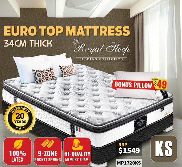 King Single Size Latex Memory Foam Mattress 34cm Thick Premium 380g Knitted Fabric
