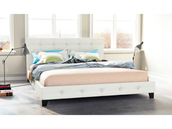 Grace Collection Queen Size PU Leather Bed Frame White