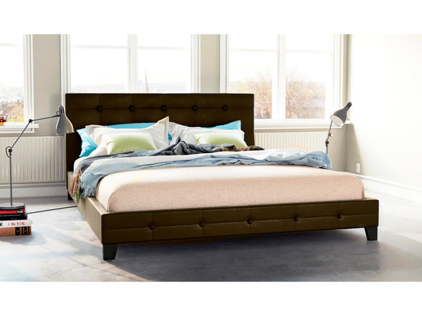 Grace Collection Queen Size PU Leather Bed Frame Brown