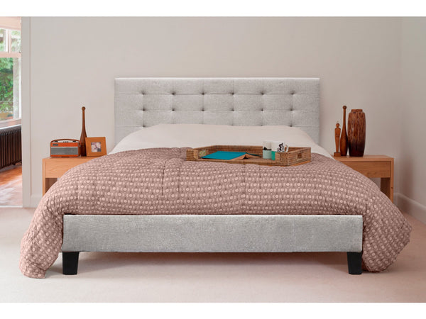 Queen Size Fabric Bed Frame Beige