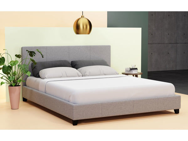 Grace Colection Queen Size Fabric Bed Frame Grey
