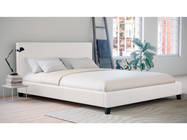 . Grace Collection King Size PU Leather Bed Frame White