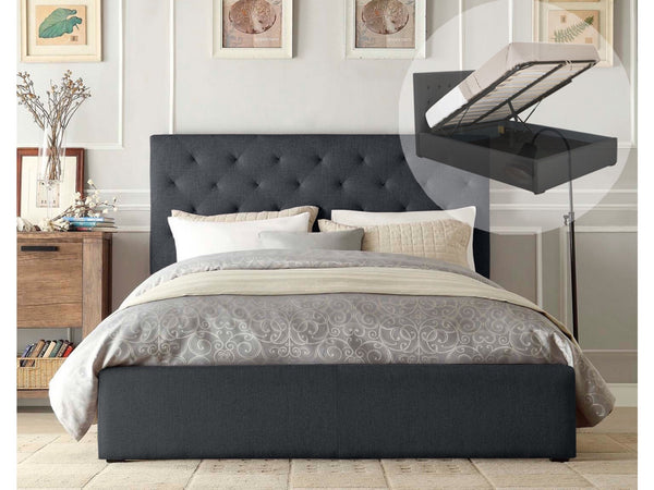King Size Gas Lift Fabric Bed Frame Charcoal
