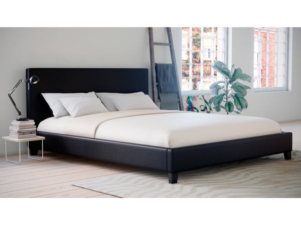 Grace Collections King Size PU Leather Bed Frame Black