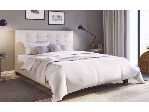 Grace Collection Queen Size Fabric Bed Frame Tall Bed Head 90cm Beige
