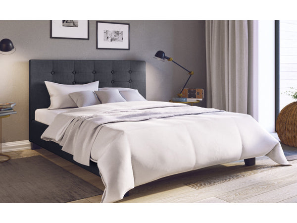 Grace Collection Queen Size Fabric Bed Frame Tall Bed Head 90cm Charcoal