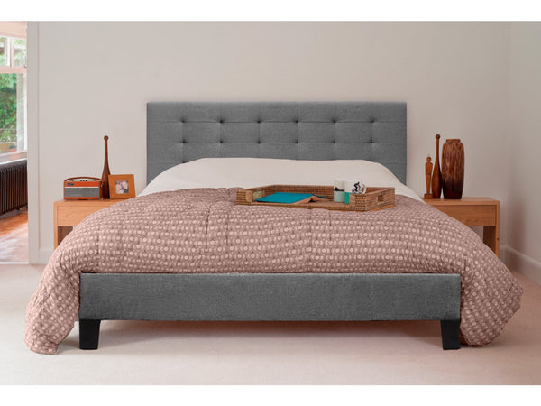Grace Premium Collection Queen Size Fabric Bed Frame Grey