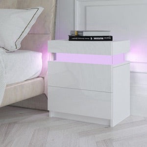 LED Lighting 16 Colours Bedside Table 2 Drawers Side Nightstand Cabinet High Gloss - White