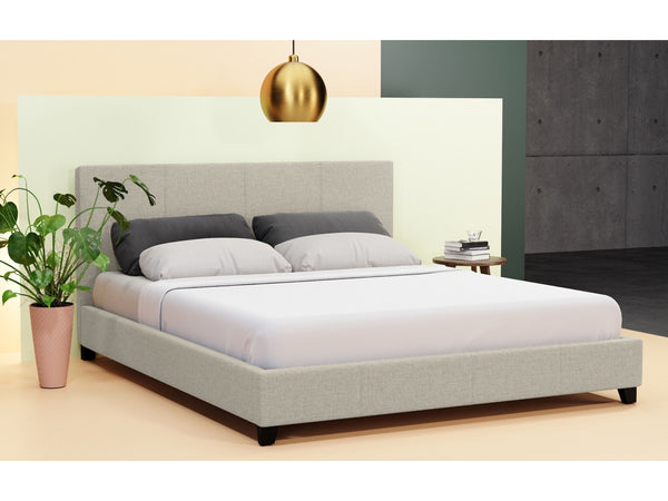 Grace Selection Queen Size Fabric Bed Frame Beige