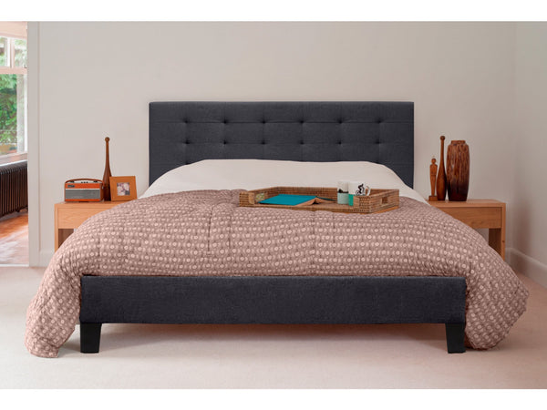 Grace Premium Collection King Size Fabric Bed Frame Charcoal