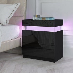 Bedside Table 2 Drawers Side Nightstand Cabinet High Gloss LED Light - Black