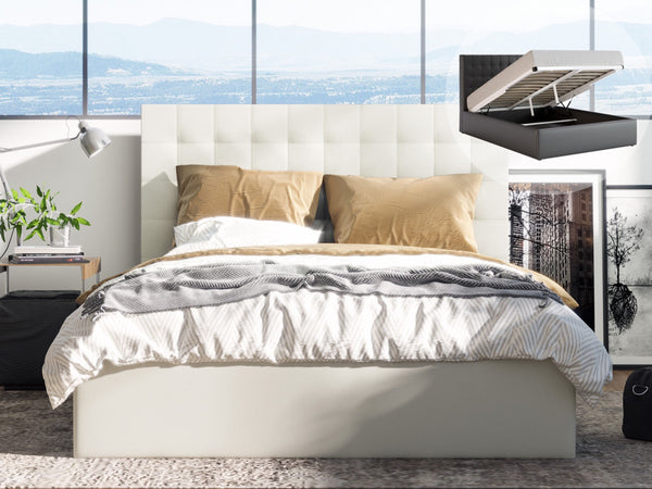 Grace Collection King Size Gas Lift Pu Leather Bed Frame Tall Bed Head 118cm White