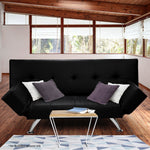 Grace Collection 3 Seater PU Leather Sofa Bed Lounge - Black