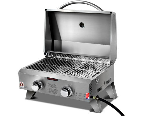 Portable Gas BBQ 2 Burners Heater Garden Patio Camping BBQ Grill Stainless Steel
