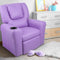 Childs Recliner Chair Luxury PU Leather Padding W/ Drink Holder Purple