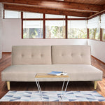 Grace Collection 3 Seater Modular Linen Fabric Sofa Bed Couch - Beige