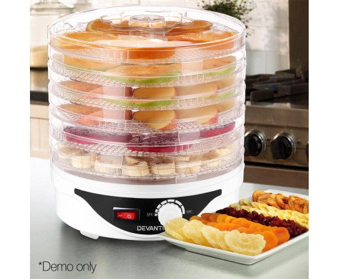 7 Trays Food Dehydrator Preserver Fruit Meats Jerky Dryer Round White