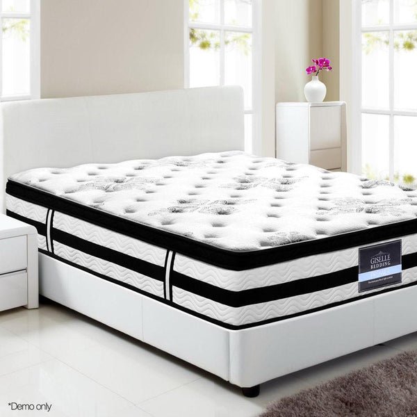 King Single Mattress Euro Top 5 Zone Pockets Springs High Resilience Foam Medium Firmness 34cm